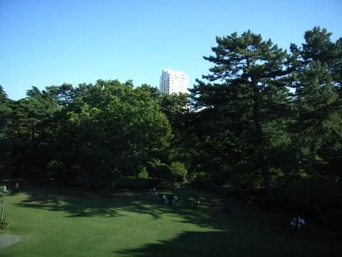 休憩室から見た東京都庭園美術館の庭