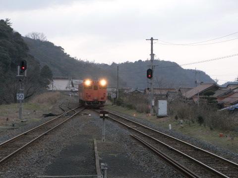 山陰の温泉津駅に入るキハ47米子行き